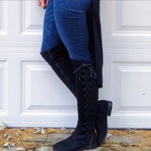 Shoes - Black suede over the knee boots
